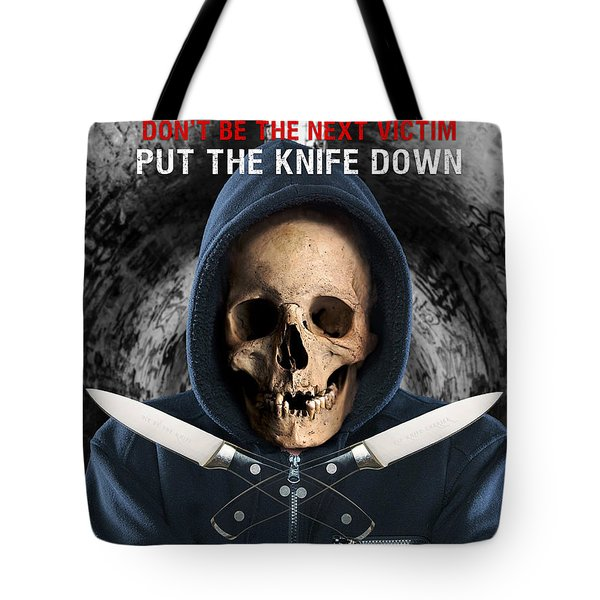 Tote Bag featuring the digital art Knife Crime Part 2 - The Next Victim by ISAW Company