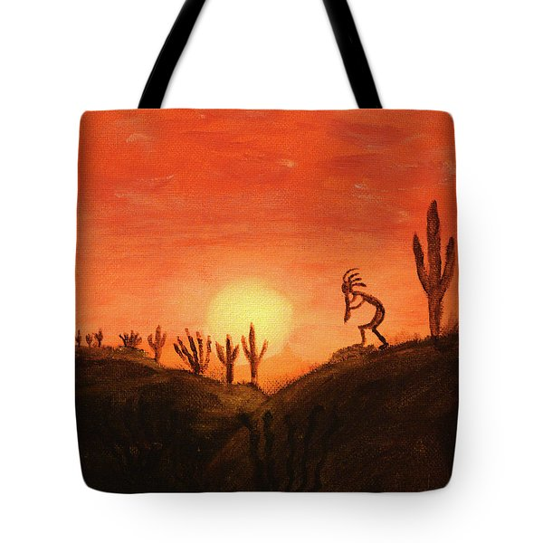 Kokopelli's Sunset Song Tote Bag