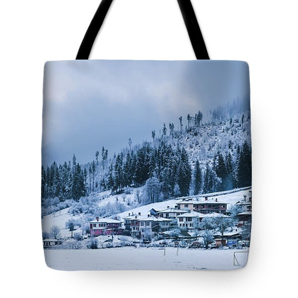 Tote Bag featuring the photograph Koprivshtica Winter Panorama by Milan Ljubisavljevic