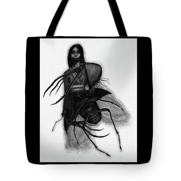 Tote Bag featuring the drawing Kuchisake-onna The Slit Mouthed Woman Ghost - Artwork by Ryan Nieves