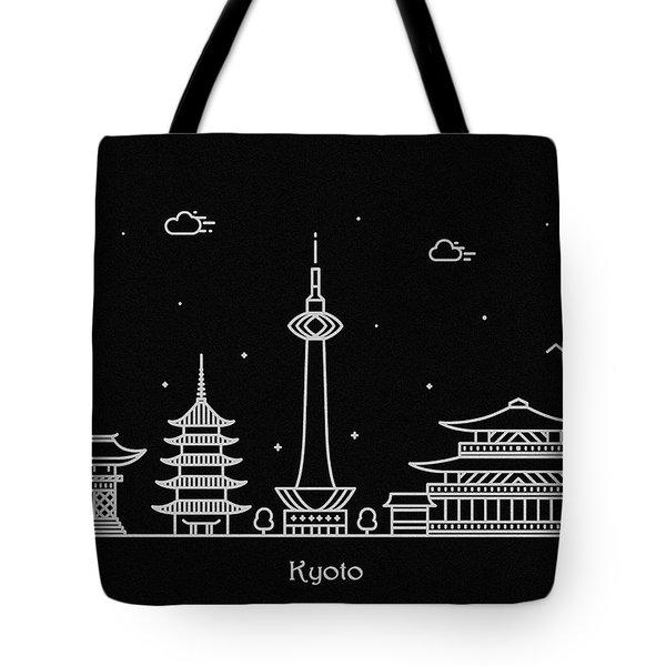 Kyoto City Skyline Travel Poster Tote Bag