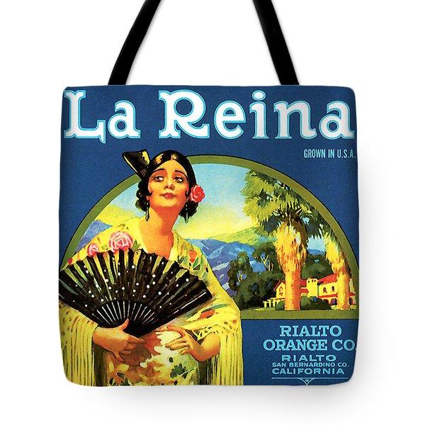 La Reina Rialto Oranges, San Bernardino California, 1920s Crate Label Tote Bag
