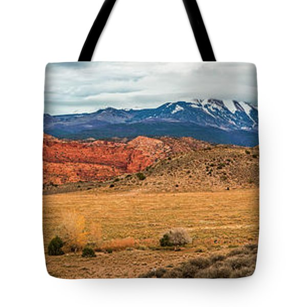 Tote Bag featuring the photograph La Sal Mountains by Andy Crawford