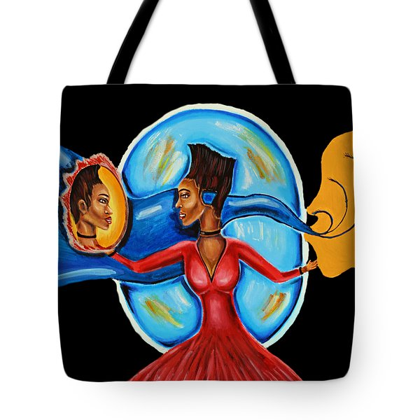 African Goddess Lady In Red Afrocentric Art Mother Earth Black Woman Art Tote Bag