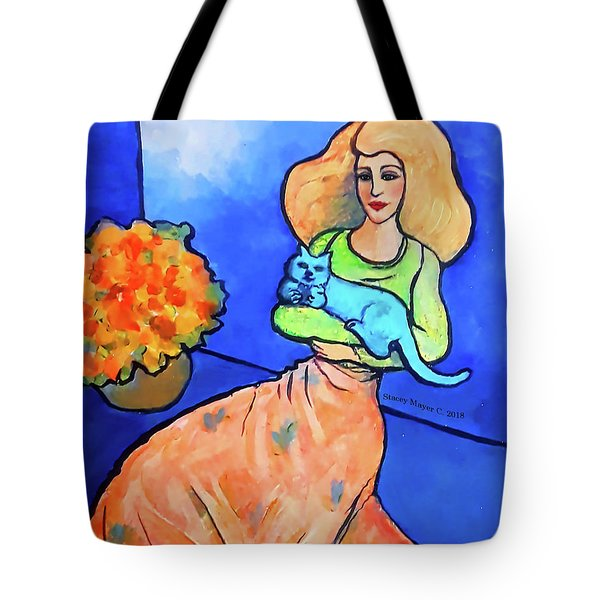 Lady With Blue Cat Tote Bag