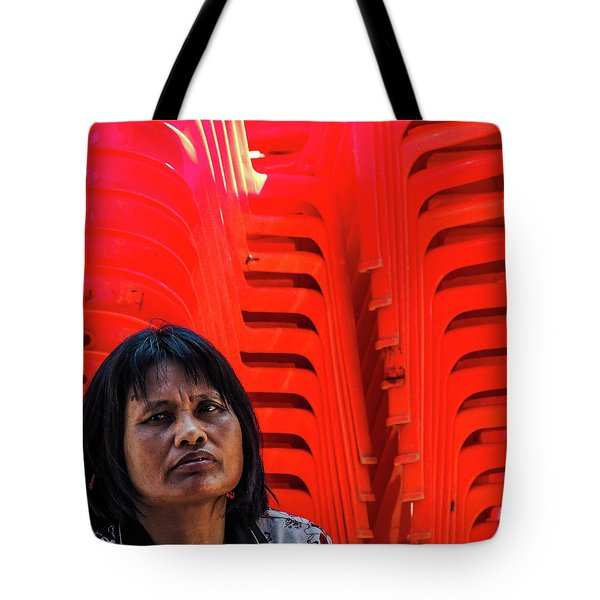 Lady With Red Chairs Tote Bag