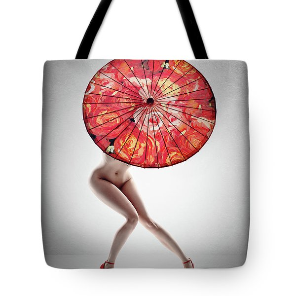 Lady With Red Shoes And Parasol Tote Bag