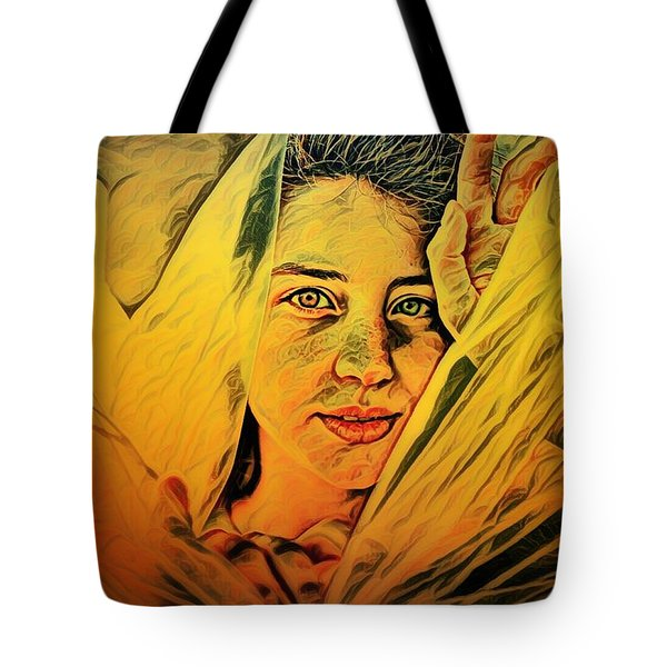 Lady Wrapped In Strings Tote Bag