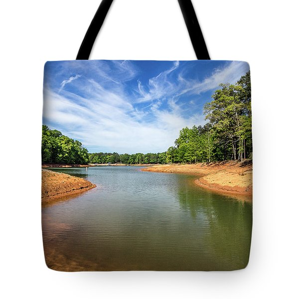 Tote Bag featuring the photograph Drought-stricken Lake Hartwell by Bernd Laeschke