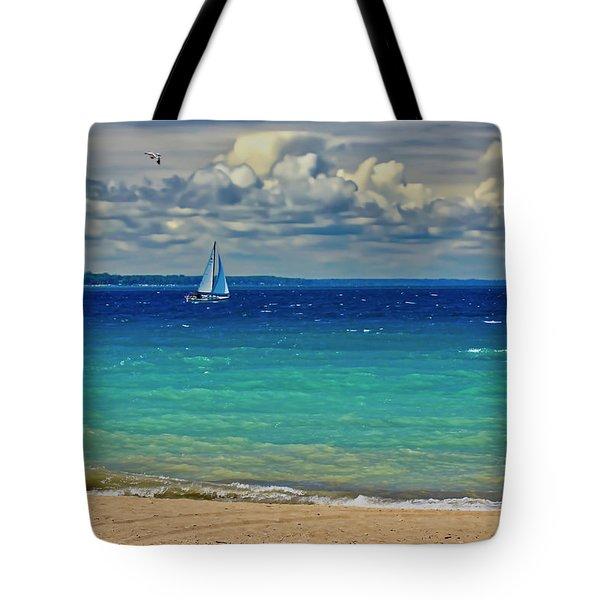 Lake Huron Sailboat Tote Bag