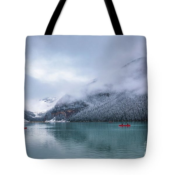 Lake Louise Canoeing Tote Bag