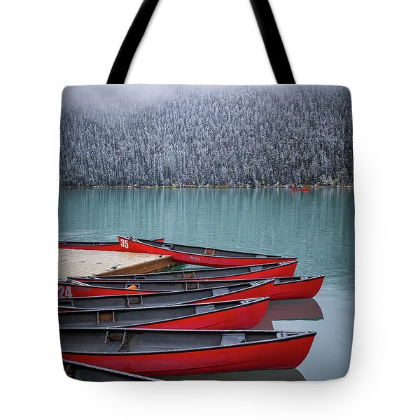 Lake Louise Canoes Tote Bag
