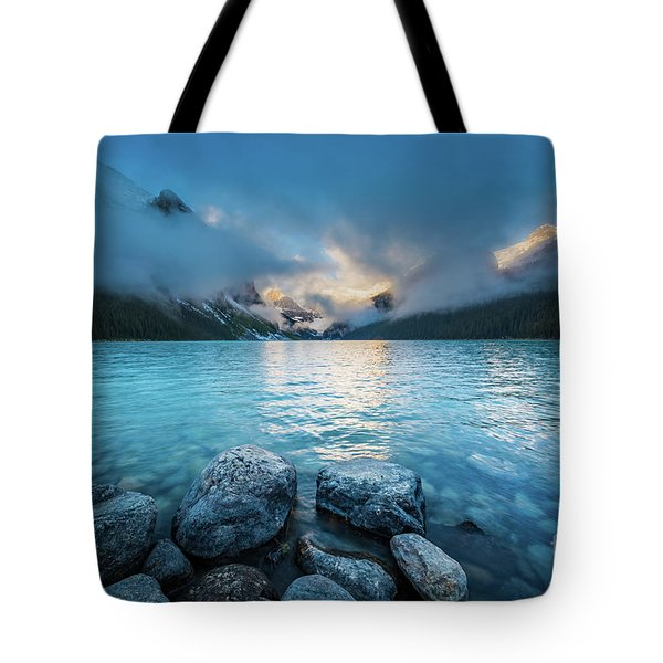 Lake Louise Morning Clouds Tote Bag