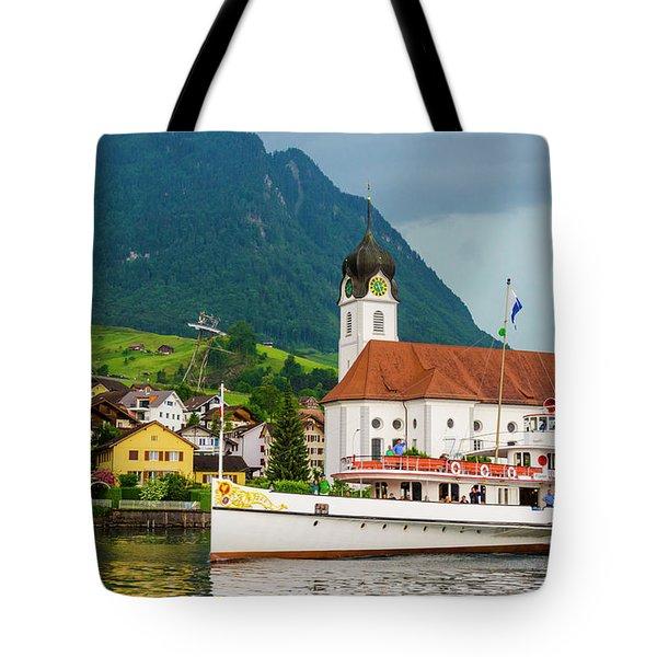 Lake Lucerne Steamer Tote Bag