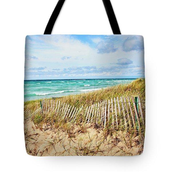 Lake Michigan Beachcombing Tote Bag