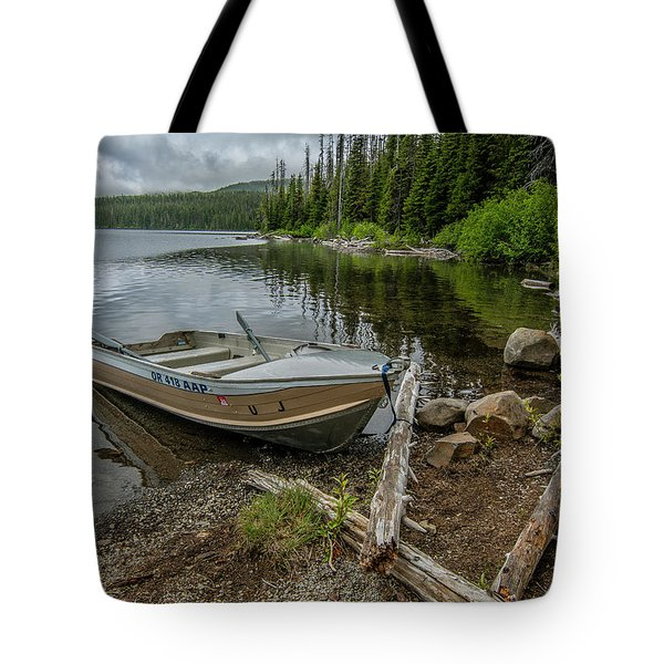 Tote Bag featuring the photograph Lake Olalie Boat  by Matthew Irvin