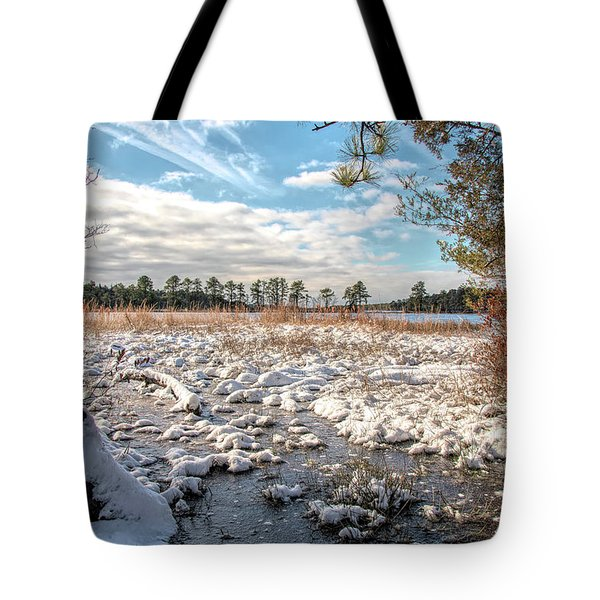 Tote Bag featuring the photograph Lake Oswego After The Snow  by Kristia Adams