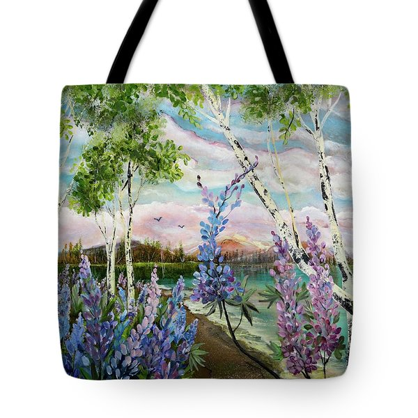 Lakeside Lupin Tote Bag