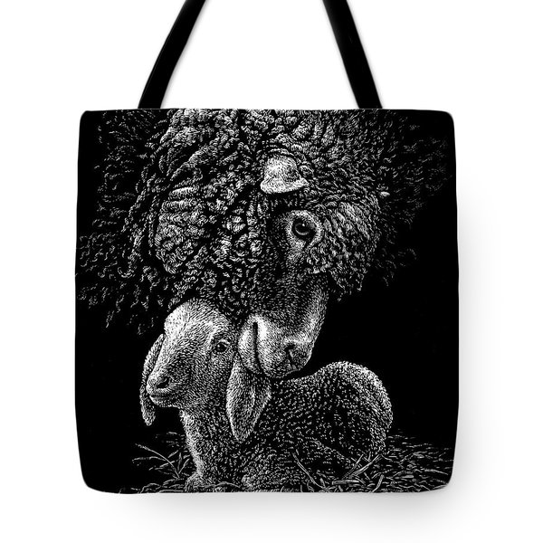 Tote Bag featuring the drawing Lamb by Clint Hansen