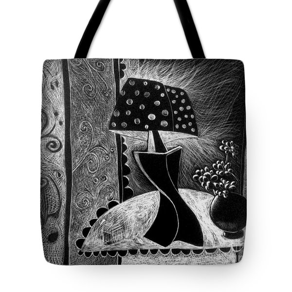 Lamp And Flowers. Tote Bag