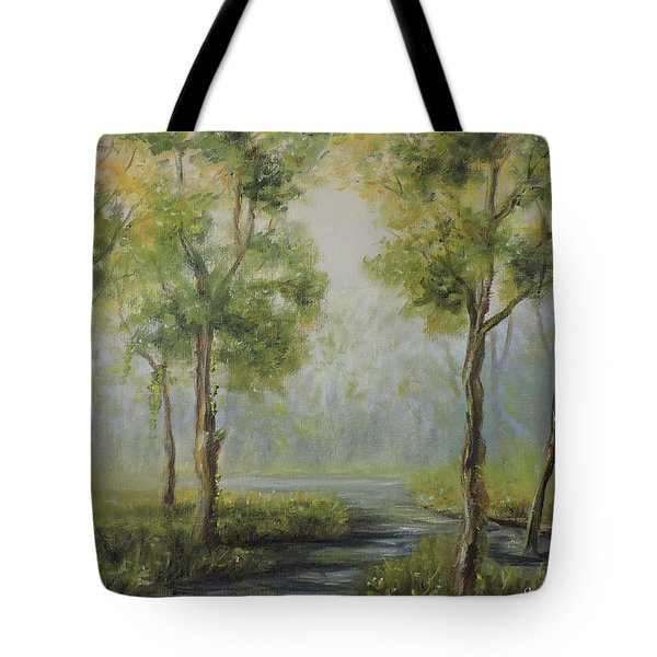 Landscape Of The Great Swamp Of New Jersey With Pond Tote Bag