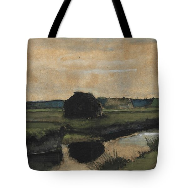 Landscape With A Stack Of Peat And Farmhouses Tote Bag