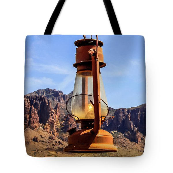 Lantern Over Superstitions Tote Bag