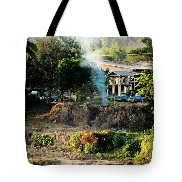 Tote Bag featuring the photograph Laos Riverside Scene  by Jeremy Holton