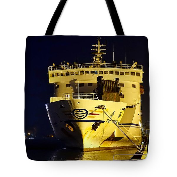 Large Ferry Docked In Port By Night Tote Bag