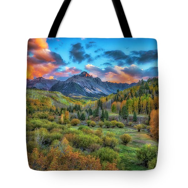 Tote Bag featuring the photograph Last Light Mount Sneffels by Bitter Buffalo Photography