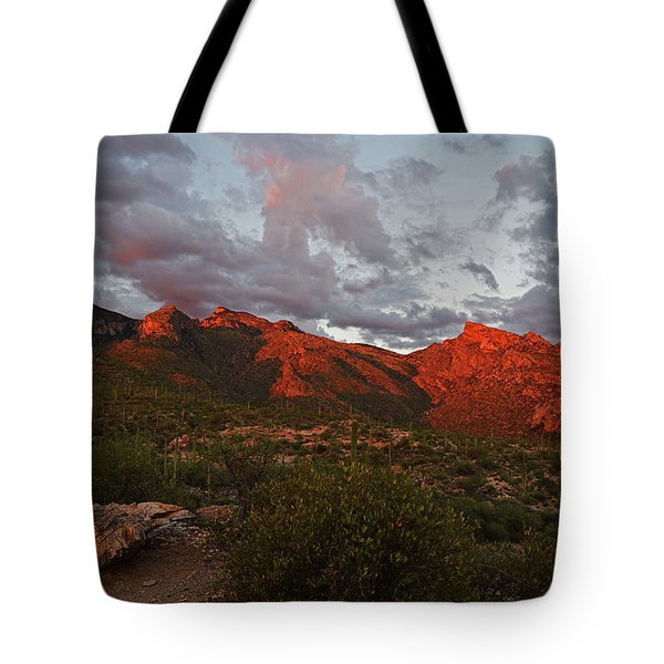 Last Light On Catalina Mountains Tote Bag