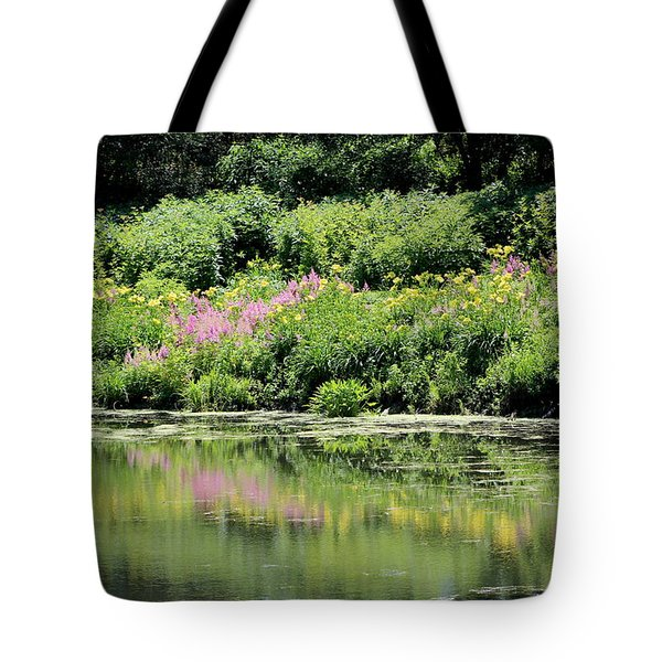 Lavender And Gold Reflections At Chicago Botanical Gardens Tote Bag