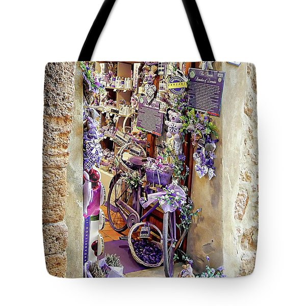Tote Bag featuring the photograph Lavender Shop Pienza by Dorothy Berry-Lound