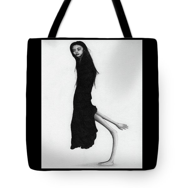 Tote Bag featuring the drawing Leaning Woman Ghost - Artwork by Ryan Nieves