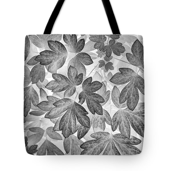 Tote Bag featuring the photograph Leaves Black And White Plant Pattern by Christina Rollo