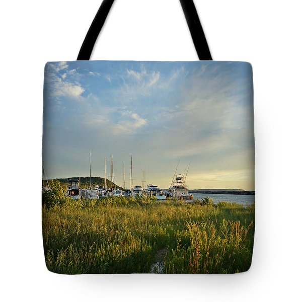Tote Bag featuring the photograph Leland Harbor At Sunset by SimplyCMB