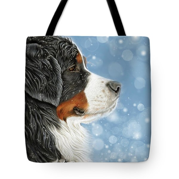 Tote Bag featuring the mixed media Let It Snow - Arctic Blue by Donna Mulley