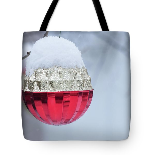 Tote Bag featuring the photograph Let It Snow On The Red Christmas Ball - Outside Winter Scene  by Cristina Stefan