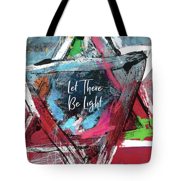 Tote Bag featuring the mixed media Let There Be Light Expressionist Star- Art By Linda Woods by Linda Woods