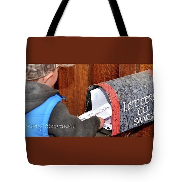 Tote Bag featuring the photograph Letters To Santa With Greeting by Jerry Sodorff