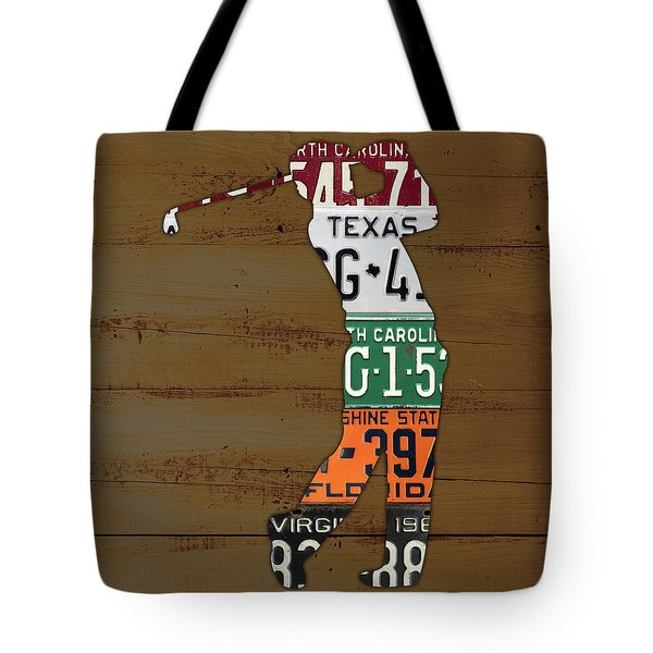 License Plate Golfer Art Custom Tote Bag