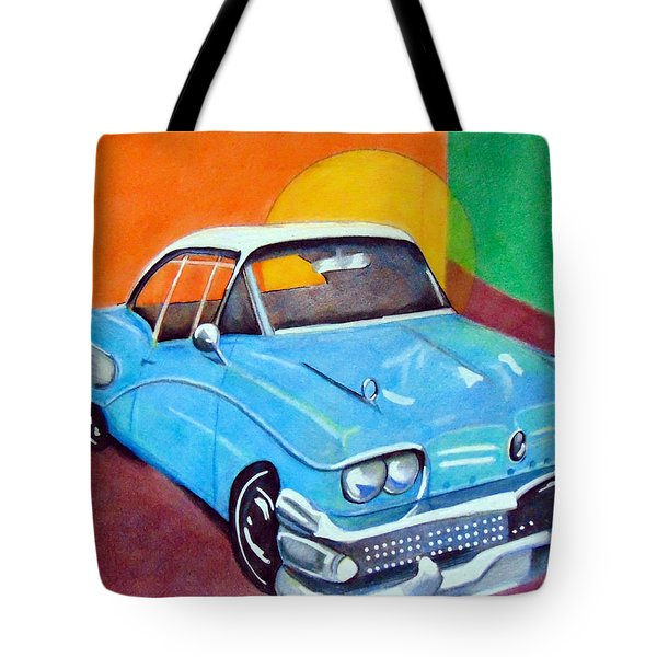 Light Blue 1950s Car  Tote Bag