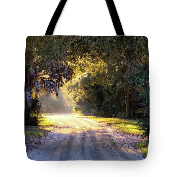 Light, Shadows And An Old Dirt Road Tote Bag