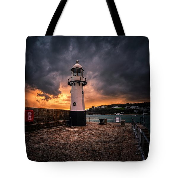 Lighthouse Dramatic Sky Tote Bag