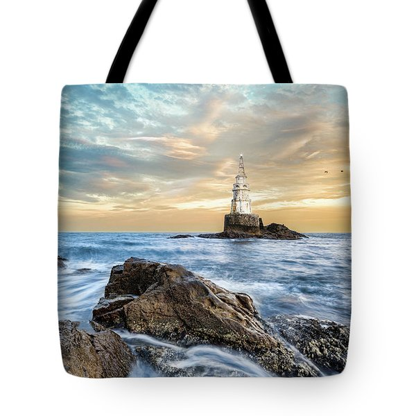 Tote Bag featuring the photograph Lighthouse In Ahtopol, Bulgaria by Milan Ljubisavljevic