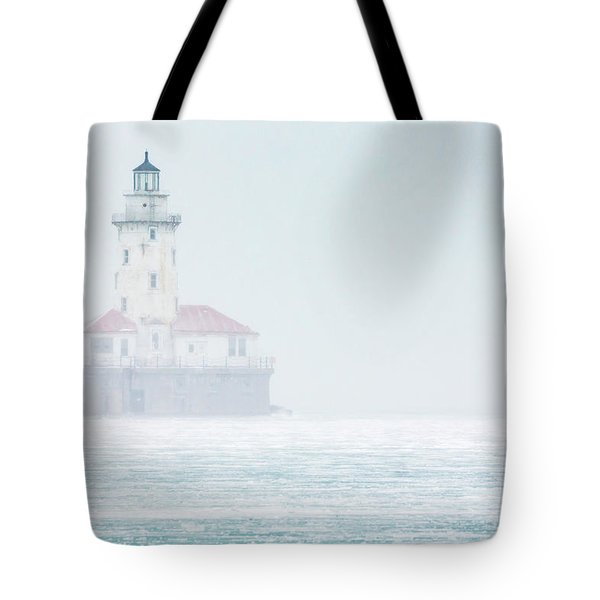 Lighthouse In The Mist Tote Bag