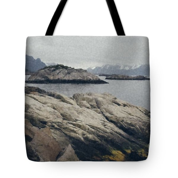 Lighthouse On Rocks Near The Atlantic Coast, Digital Art Oil Pai Tote Bag
