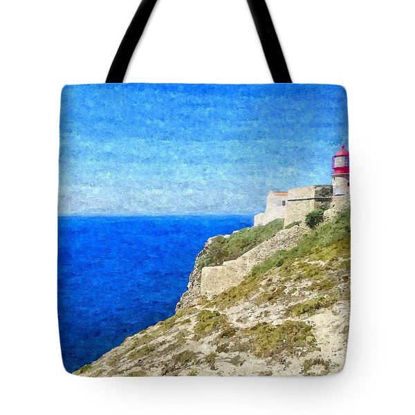 Lighthouse On Top Of A Cliff Overlooking The Blue Ocean On A Sunny Day, Painted In Oil On Canvas. Tote Bag