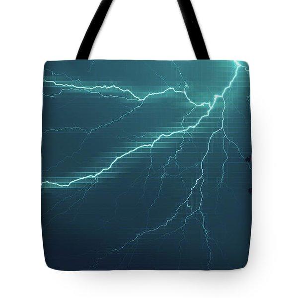 Lightning Grid Tote Bag