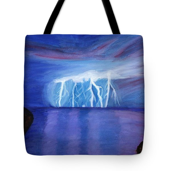 Lightning On The Sea At Night Tote Bag